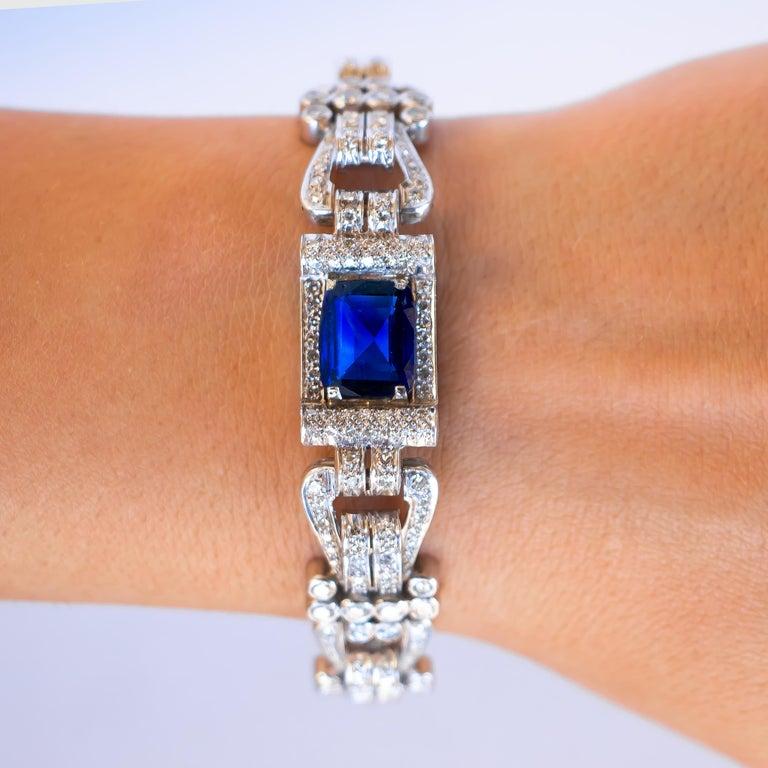 Blue Sapphire = 8 Carat  Diamonds = 12 Carats  Circa 1930's