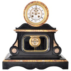 Antique 8-Day Marble and Slate Mantel Clock by Henri Marc of Paris, circa 1870