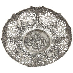 Antique 800 German Silver Repoussed Dish