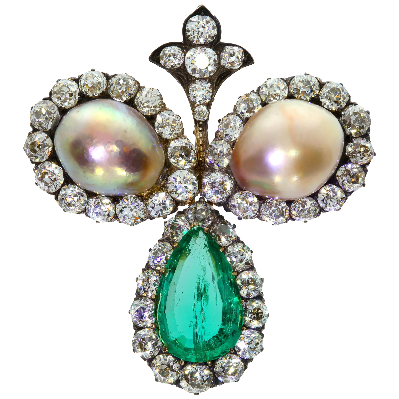 Antique 8.25 Carat Emerald Pearl and Diamonds Brooch