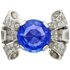 Antique 8.50 Carat Ceylon Sapphire and 1.95 Carat Diamond Platinum Cocktail Ring