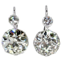 Antique 8.75 Carat Old European Cut Diamond Dormeuse Drop Earrings