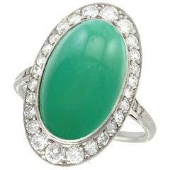 Antique 8.96 Carat Turquoise and 1.36 Carat Diamond Platinum Cocktail Ring