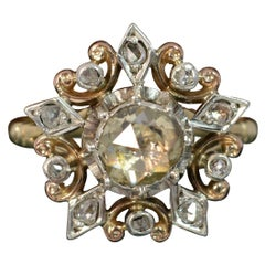 Antique 9 Carat Gold 1 Carat Rose Cut Diamond Flower Cluster Ring