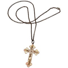 Antique 9 Carat Gold Cross Pendant Necklace