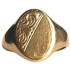 Antique 9 Carat Gold Panel Signet Ring