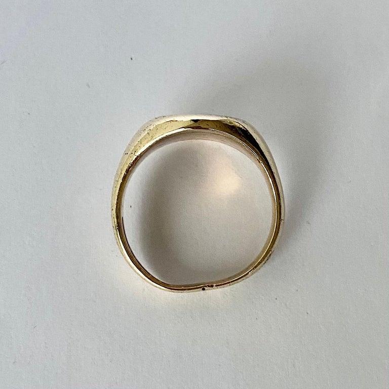 Art Deco Antique 9 Carat Gold Signet Ring For Sale