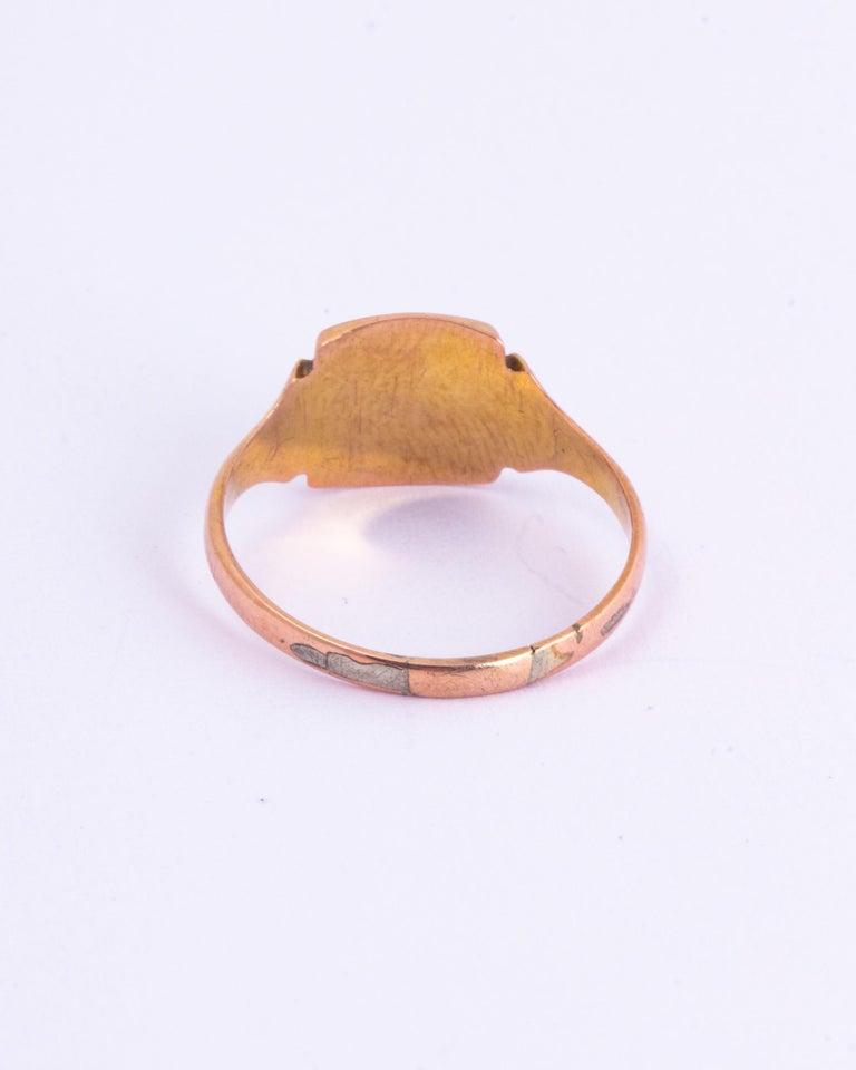 Women's or Men's Antique 9 Carat Gold Signet Ring