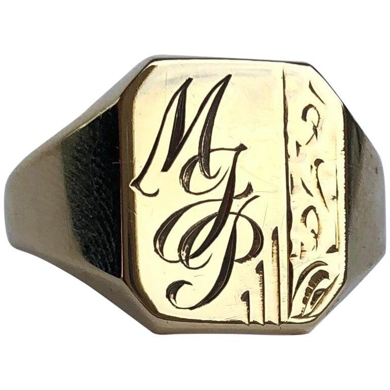 Antique 9 Carat Gold Signet Ring For Sale