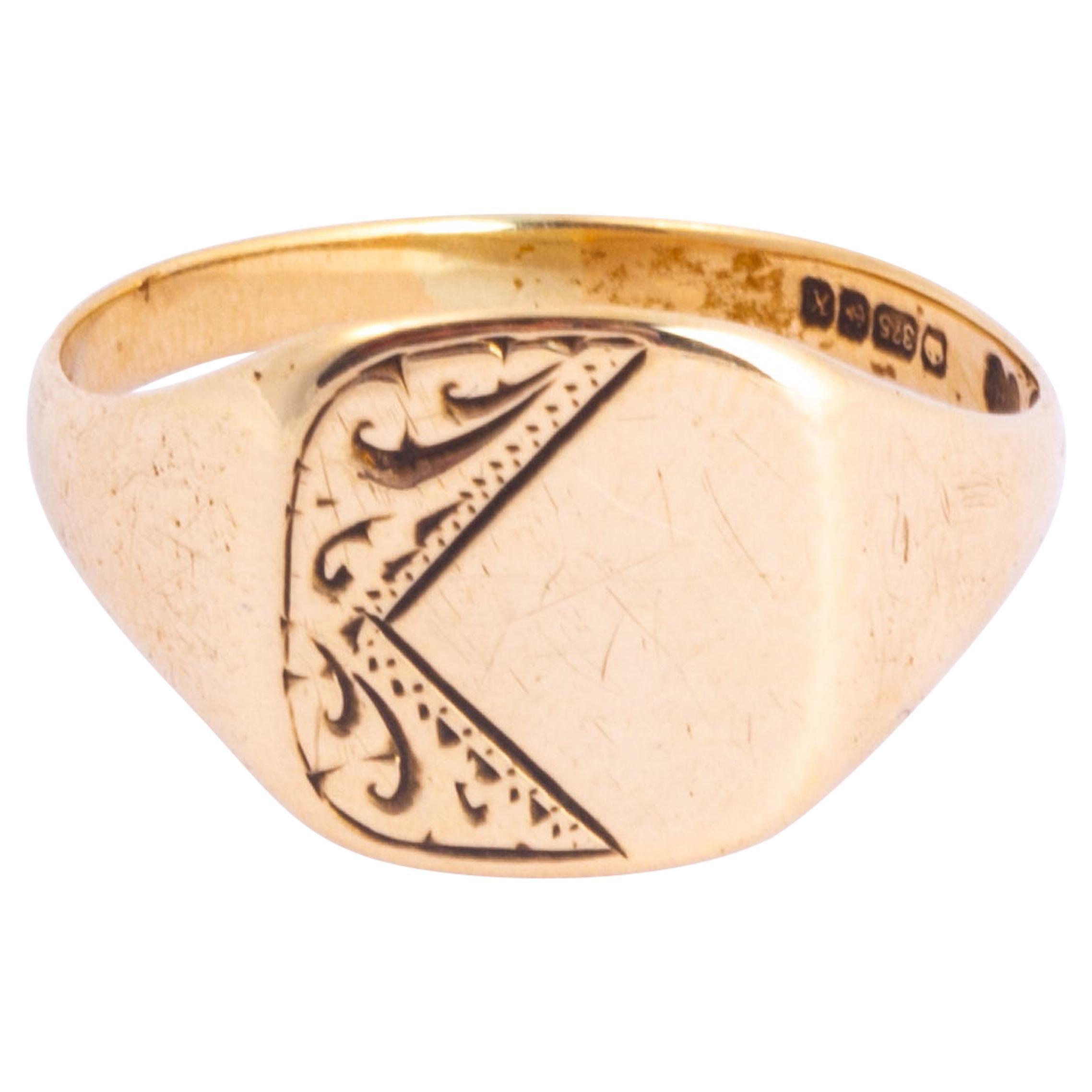 Antique 9 Carat Gold Signet Ring