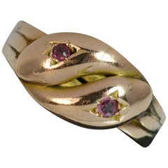 Antique 9 Carat Rose Gold and Ruby Double Snake Ring