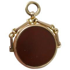 Antique 9 Carat Rose Gold Bloodstone and Carnelian Swivel Fob Pendant