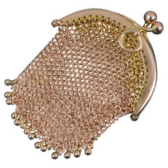 Antique 9 Carat Rose Gold Ladies Coin Purse Chainmail Bag