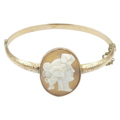 Antique 9 Carat Yellow and Rose Gold Cameo Bangle