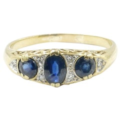 Antique 9 Carat Yellow Gold Sapphire and Diamond Large Finger Size Dress Ring