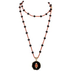 Antique 9 Karat Gold, Coral and Onyx Beaded Necklace, Early 20th Century