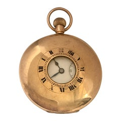 Antique 9 Karat Gold Half Hunter Swiss Pocket Watch
