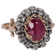 Antique 9 Karat Gold, Ruby and Rose Cut Diamond Ring, 1940s