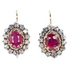 Antique 9 Karat Gold, Ruby and Rose Cut Diamonds Earrings, 1940s