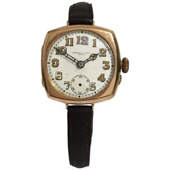 Antique 9 Karat Gold Square Trench Watch
