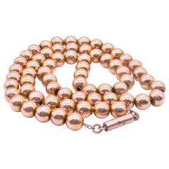 Antique 9 Karat Gold Victorian Beaded Collar with Barrel Clasp, circa 1870