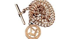 Antique 9 Karat Rose Gold Albert Chain, Masonic Fob