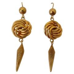 Antique 9 Karat Yellow Gold Knot Drop Earrings