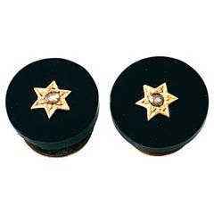 Antique 9ct Gold, Black Onyx & Diamond Shirt Button Hole Studs
