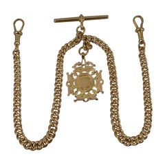 Antique 9ct Gold Pocket Watch Double Albert Chain and Fob