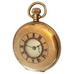 Antique 9CT Gold Stem-Wind Half Hunter Dennison Case Swiss Made Pocket Watch