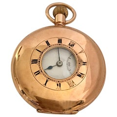 Antique 9 Karat Gold Half Hunter Hand winding Pocket Watch