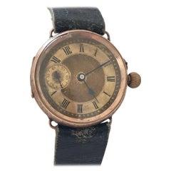 Antique 9 Karat Rose Gold Trench Watch