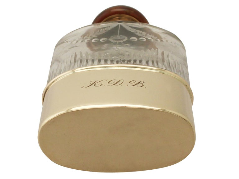 Antique Acid Etched Cut Glass and Yellow Gold Hip Flask 4