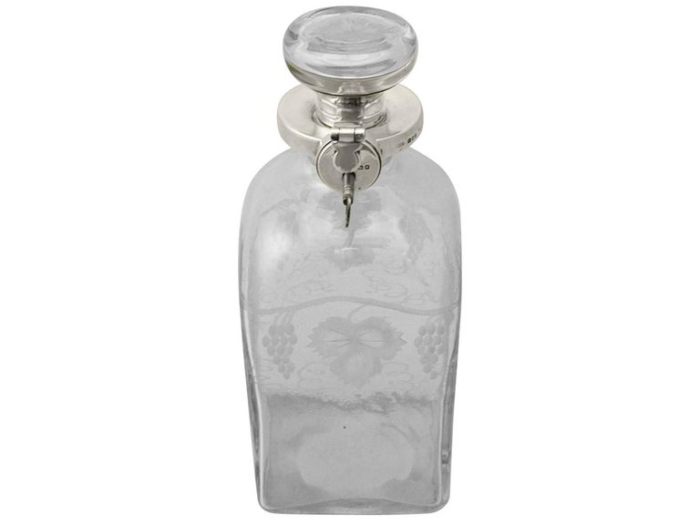 Other Antique Acid Etched Glass and Sterling Silver Mounted Locking Decanter For Sale