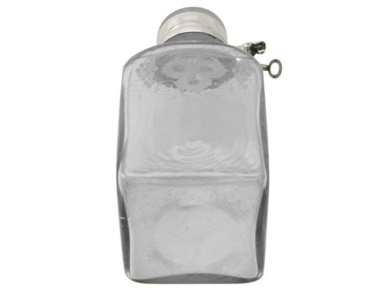 English Antique Acid Etched Glass and Sterling Silver Mounted Locking Decanter For Sale