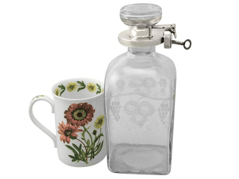 Early 20th Century Antique Acid Etched Glass and Sterling Silver Mounted Locking Decanter For Sale