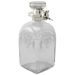 Antique Acid Etched Glass and Sterling Silver Mounted Locking Decanter