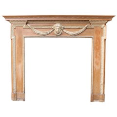 Antique Adam Style Pine and Composition Fire Surround