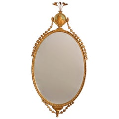 Antique Adam Style Polychromed Giltwood Wall Mirror with Figural Medallion