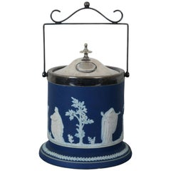 Antique Adams Tunstall Cobalt Blue Jasperware Lidded Biscuit Jar Wedgwood
