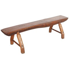 Antique Adirondack Bench with Very Thick Seat and Primitive Hand Hewn Legs