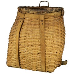 Antique Adirondack Reed and Woven Ash Pack Basket, circa 1910