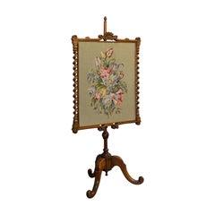 Antique Adjustable Fire Screen, Walnut, Needlepoint, Decorative, Pole, Regency