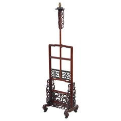 Antique Adjustable Height Chinese Decorative Mahogany Standard Reading Lamp