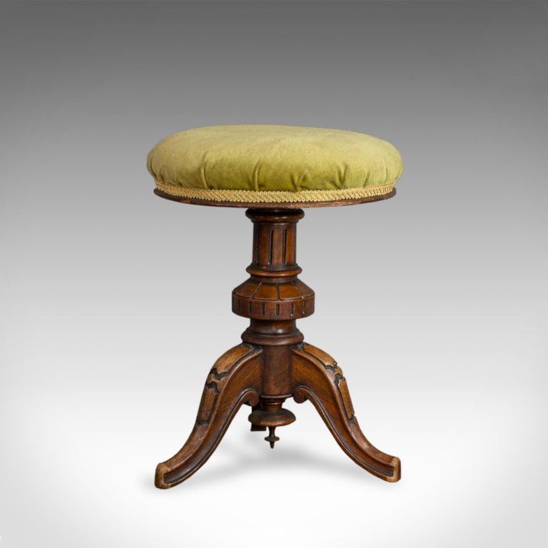 19th Century Adjustable Piano Stool, English, Victorian, Walnut, Music, Seat, circa 1870 For Sale