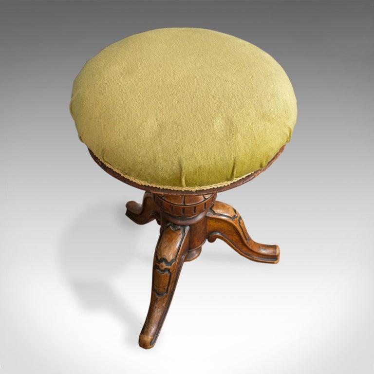 Adjustable Piano Stool, English, Victorian, Walnut, Music, Seat, circa 1870 For Sale 1