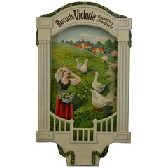 Antique Advertising Sign for Biscuits Victoria Brussels 'B' and Dordrecht 'NL'
