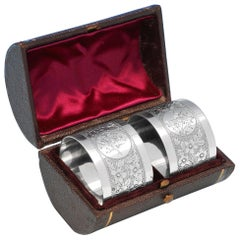 Antique Aesthetic Design Pair of Sterling Silver Napkin Rings, London, 1889