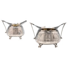 Antique Aesthetic Design Sterling Silver Sugar & Cream Set by Stephen Smith 1881