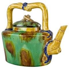 Antique Aesthetic Majolica Pottery Bamboo Tea Pot, Circa 1910